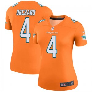 Nike Nate Orchard Miami Dolphins Women's Legend Orange Color Rush Jersey