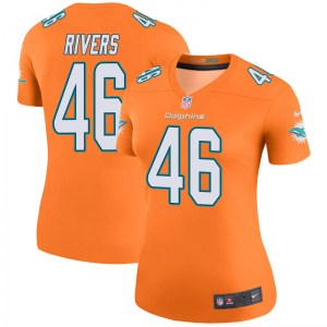 Nike David Rivers Miami Dolphins Women's Legend Orange Color Rush Jersey