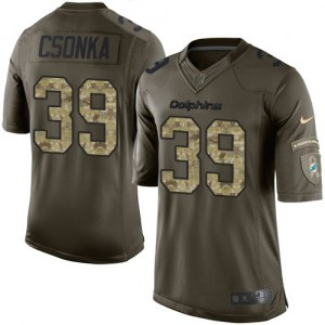 Nike Larry Csonka Miami Dolphins Youth Limited Green Salute to Service Jersey